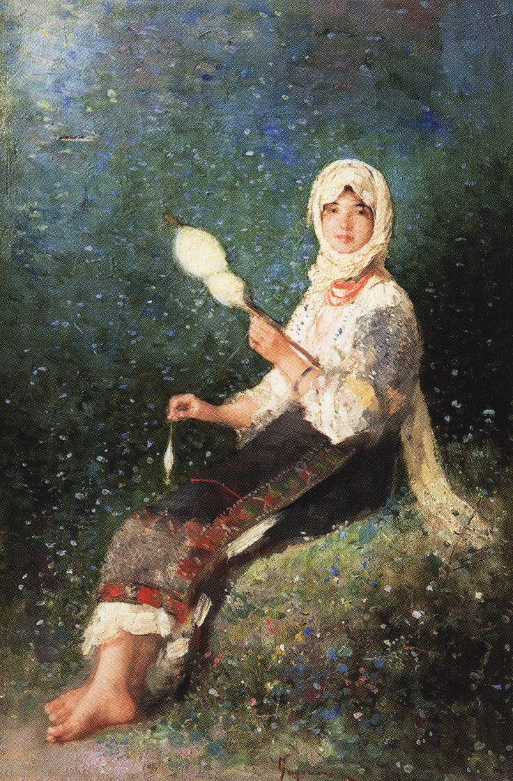 Nicolae  Grigorescu | Paysanne filant, 1870-1875