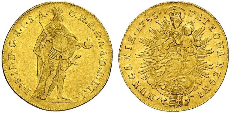 AV Ducat. Hungary Coins, Habsburg Rulers. Joseph II. 1780-1790. Kremnitz mint, 1785. 3,47g. F 196. EF. Price realized 2011: 625 USD.