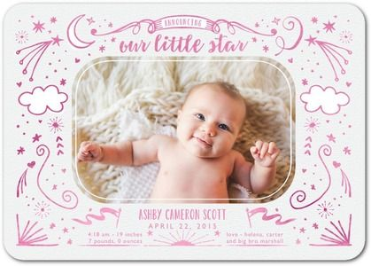Bright Start - Girl Birth Announcements - Stacey Day - Heather - Pink : Front