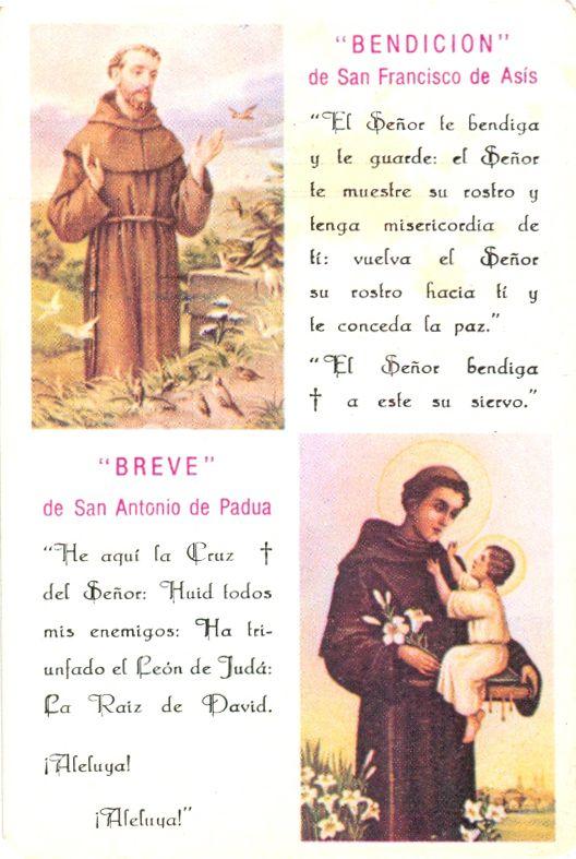 Oracion a San Antonio de Padua | Bendición de San Francisco de Asis - Breve de San Antonio de Padua ...