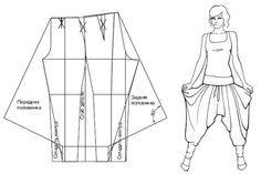 Pratique schéma de patron modifié. A moi le sarouel ! (ou pantalon afghan, d'après le site où je l'ai trouvé).
