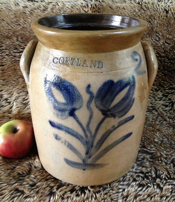 Antique Stoneware: 2G Jar w/ Cobalt Tulips, M. Woodruff, Cortland ...