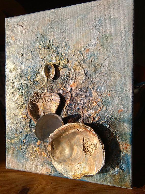 Seashells party* Golden Original beach wall art, Romantic, Abstract seascape,3D, Seashell art, Mixed media seashells, Ocean art, Sea,Love262,86 ₪