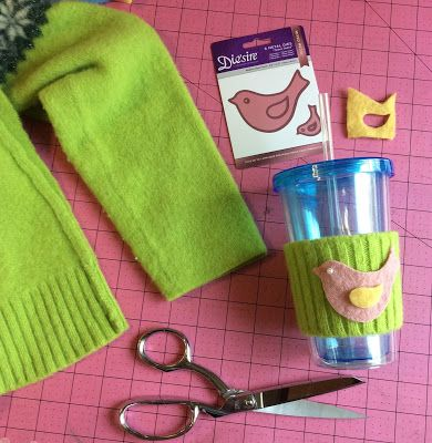 Crafter's Companion Gemini die cutting machine Mixed-media bird die, stefanie Girard, recycled wool felted sweater, drink cozy