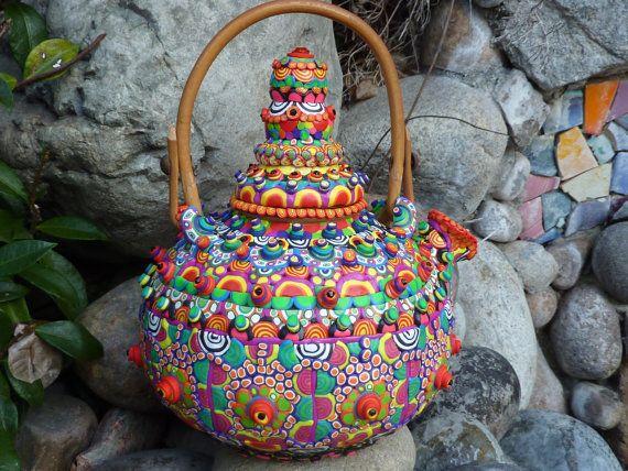 From CrazieHappy: Ceramic Teapot, Ceramic Teapots, Teas Time, Teapots Papa, Beautiful Teapots, Papa Bears, Teas Pots, Teapots Cups, Upcycling Ceramics