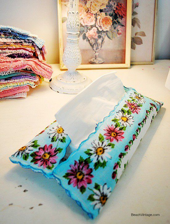 vintage handkerchief made into a tissue holder