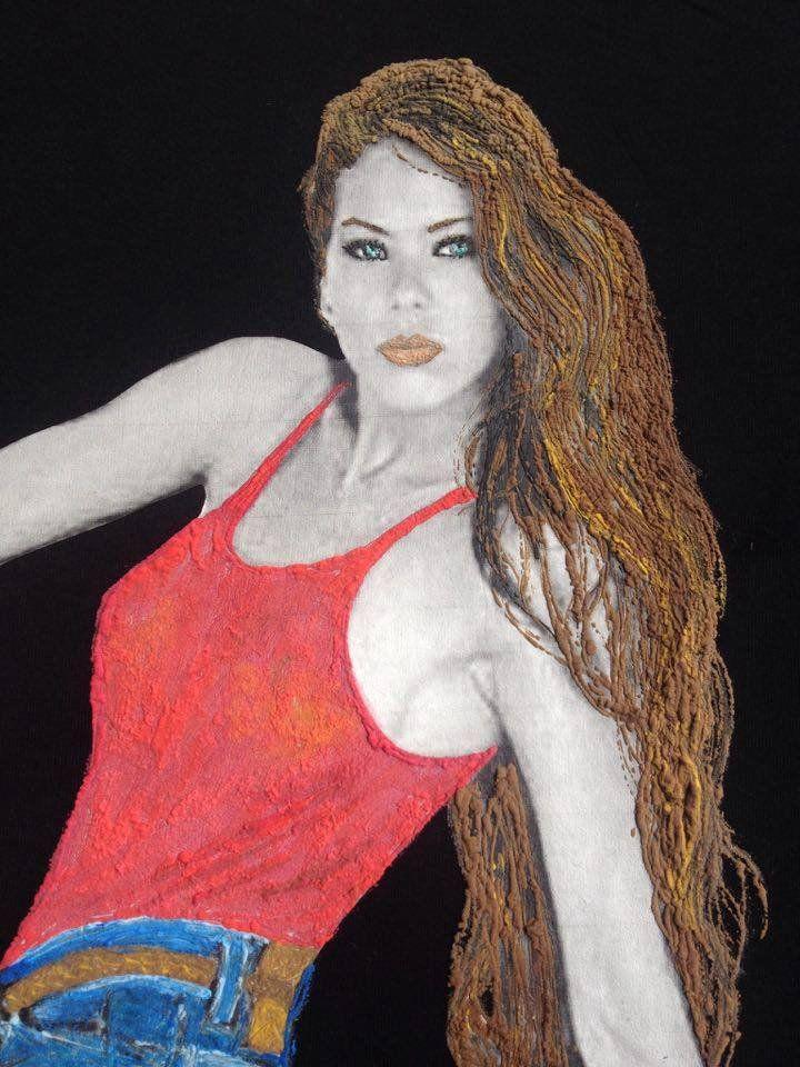 ORNELLA MUTI Painted 3d T-shirt Art to Wear Italian Beauty Icon
