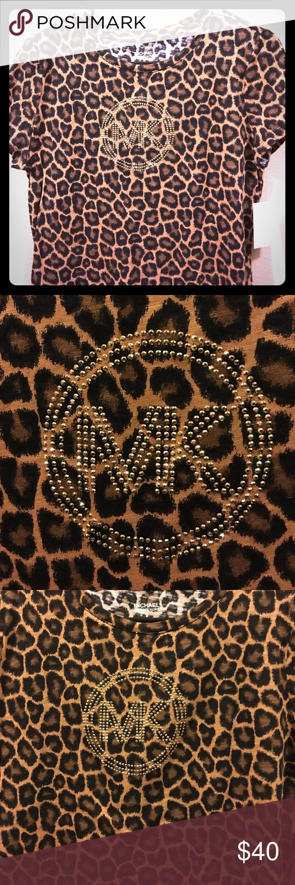 NWT! Michael Kors cheetah print shirt! New with tags! Michael Kors with cheetah print and gold! Michael Kors Tops Blouses