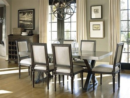 Steel Top Table SKU: PKGBR311T  Made of Oak and hardwood solids, this dining table features a stainless steel top and criss-cross base.The Upper Room Home Furnishings, Ottawa's Premier Home Furniture Store.