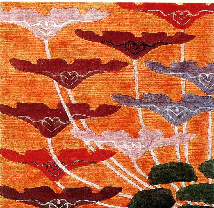 'Poppy' tapestry design by Frida Hansen, produced in 1898