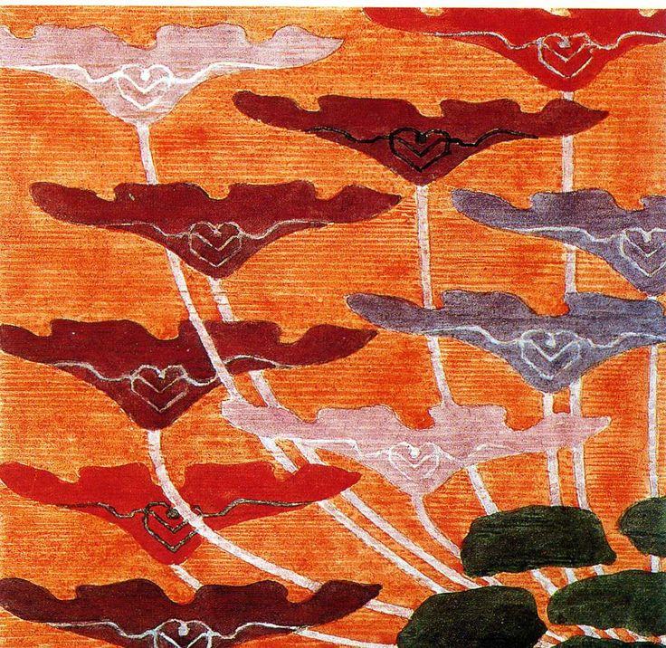 'Poppy' tapestry design by Frida Hansen, produced in 1898
