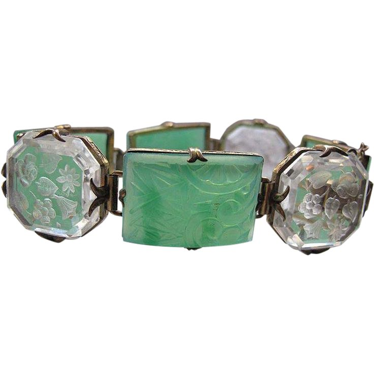 SOLD #2790a Art Deco Carved Glass Faux Jade Bracelet German Exclusively at Lee Caplan Vintage Collection on RubyLane