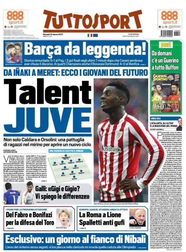 TuttoSport prima pagina oggi 9 marzo 2017