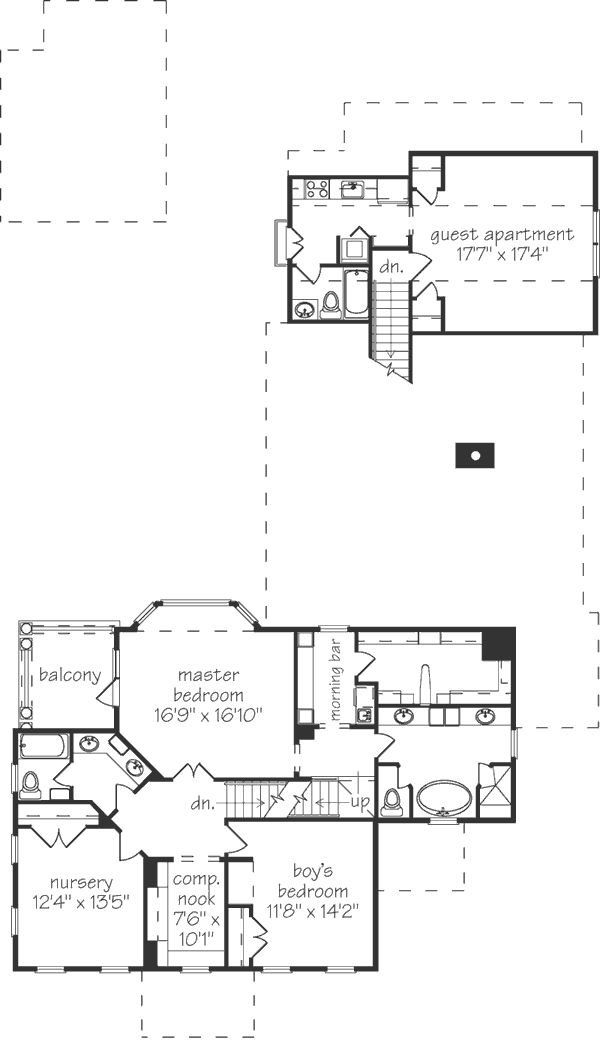 Sl 249 2nd floor master 2 bedrooms separate guest for House plans with separate guest house