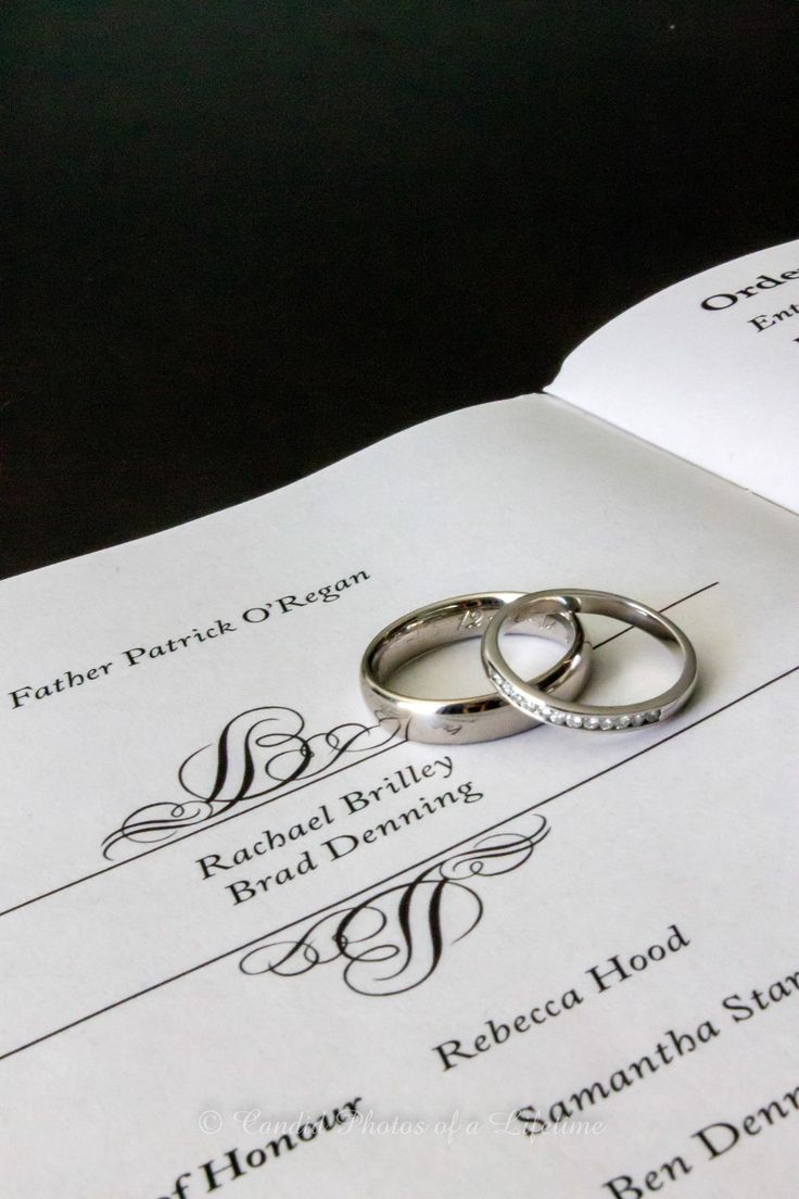 Wedding photographer, Candid Photos of a Lifetime  The wedding rings on the Order of Service