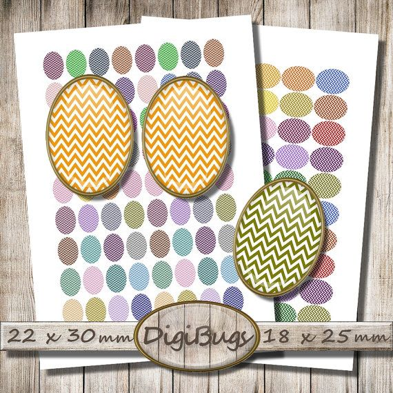 Oval Chevron Images, 18 x 25 mm, 22 x 30 mm, Easter Jewelry, Colorful Chevron Decoupage, Commercial Use, Oval Earrings, Instant Download, d5