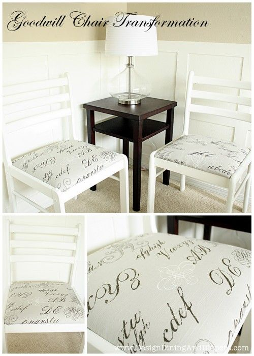 Goodwill Chairs for $1.30 made over into these chic chairs. Tutorial!