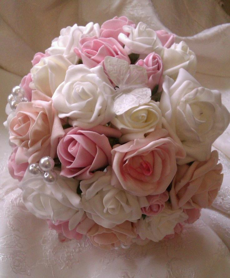 Foam Rose Pearl Erfly Bouquet 45 X Www Flowersbypurplehaze