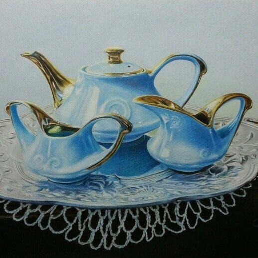 Tea time by Teresa Heath   colored pencil. http:// m.facebook.com /pnclartst
