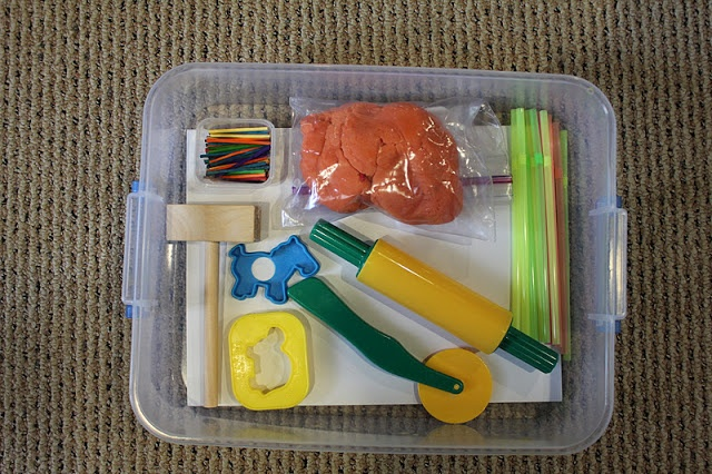 Playdough box: colored matchsticks, clay hammer, cookie cutters, straws & a few tools. Could also add animals.