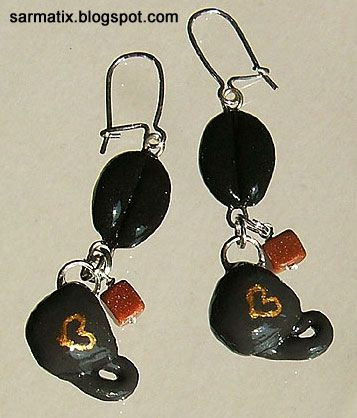 Handmade, polymer clay, coffee earrings.