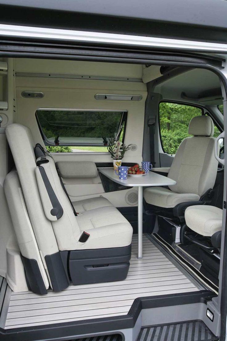 Interior of the very plush Westfalia James Cook Mercedes Sprinter RV.