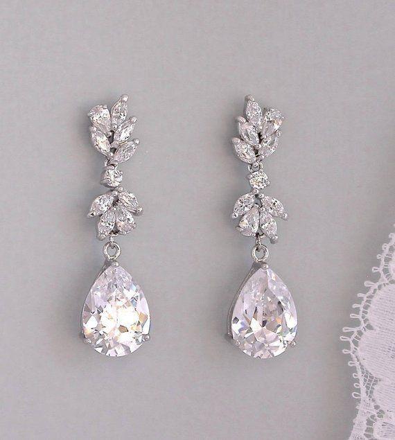 Crystal Marquise Teardrop Bridal Earrings Cz Leafy Wedding