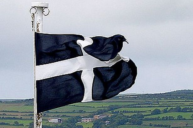 Cornish flag of Saint Piran.