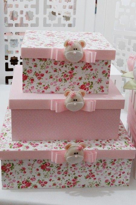 Trio de caixas com carinha de ursa - Infinita Arte for Baby