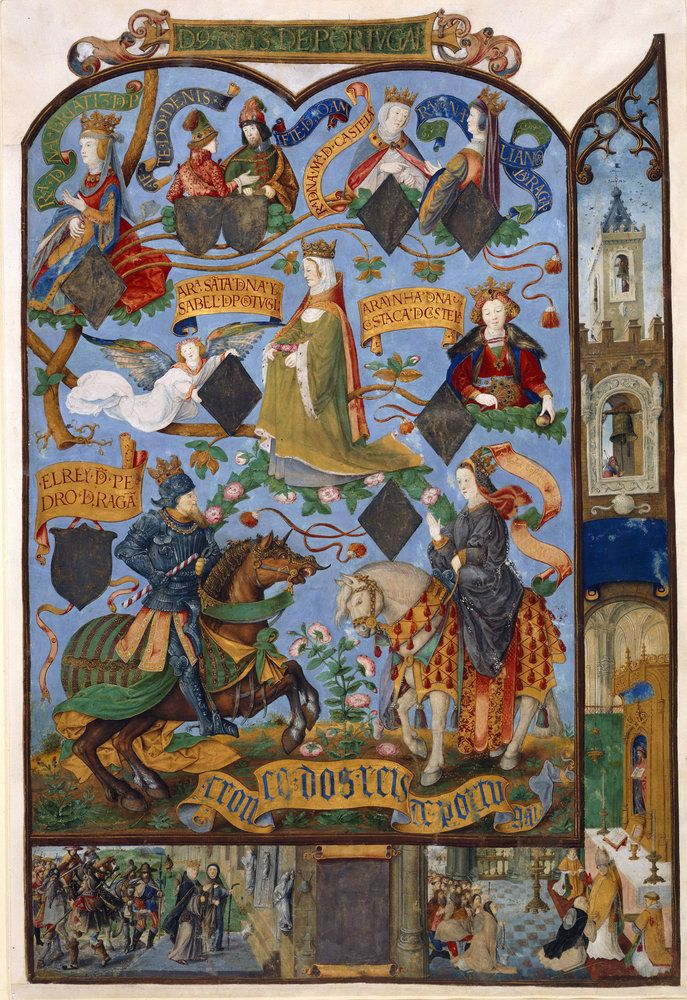 This page from the Portuguese Genealogy depicts Queen Isabella at the centre…