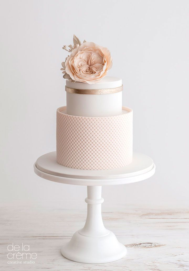 Petite blush & rose gold wedding cake with David Austin rose topper from De la Créme Creative Studio.
