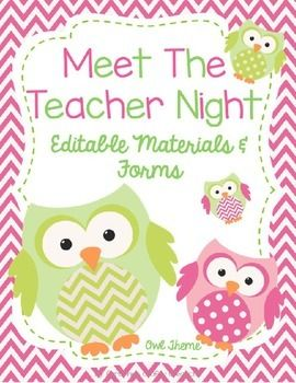 This owl theme editable meet the teacher night packet includes:* A Sign in Sheet for Parents (2 Versions)* Transportation Sheet and Transportation Slips* Welcome sign tents for Kindergarten-5th grade* School Supply Lists* Teacher Contact Information Cards (2 Versions)* Class Roster Sheet * Parent Volunteer Form* 2 Student Information Sheets* Wish List Cards* Blank Wish List Cards