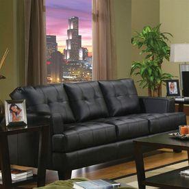 Coaster Fine Furniture Samuel Black Faux Leather Sofa 501681