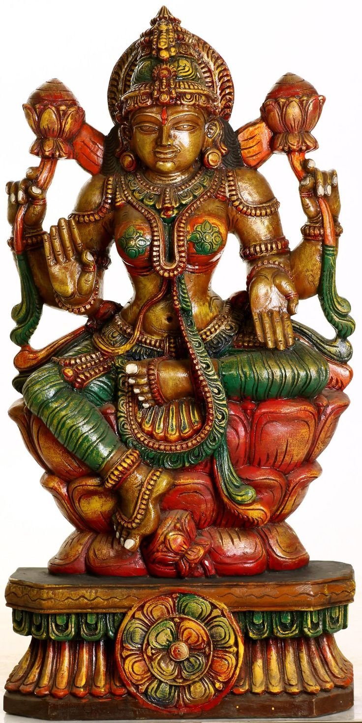 Lotus-Seated Goddess Lakshmi South Indian Temple Wood Carving XL60