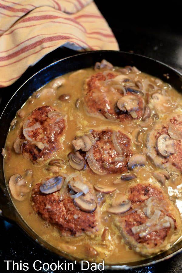Turkey-Salisbury-Steak-Mushroom-Gravy- used turkey steaks. Very tasty.