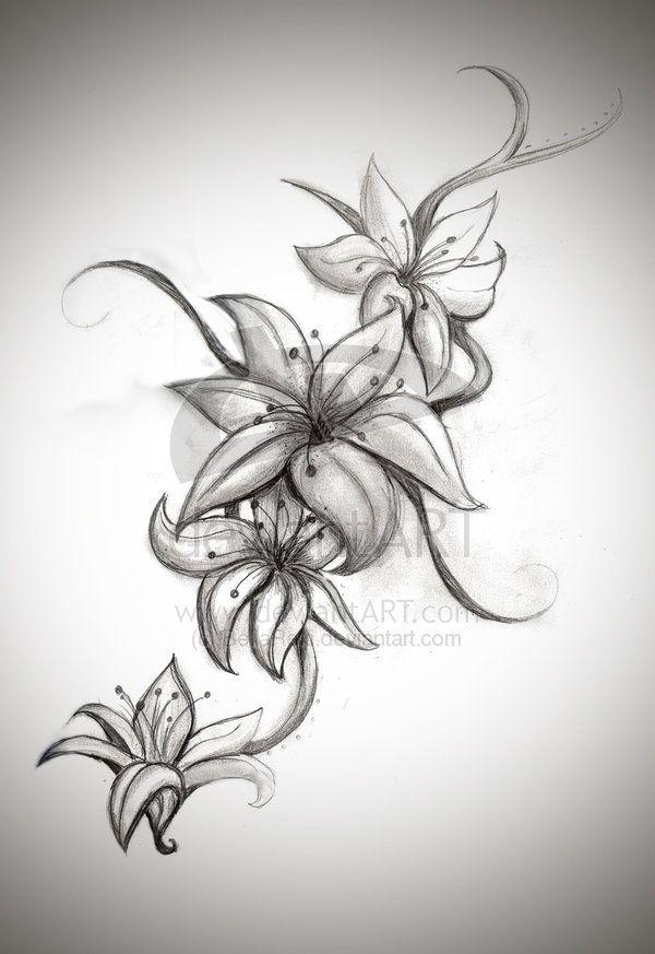 Stargazer Lily Flower Tattoo Designs: 3 Stargazer Lily Tattoo Patterns
