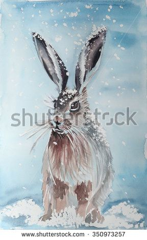 illustration hare and falling snow - stock photo
