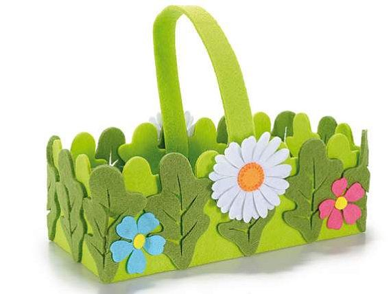 Felt Basket with Flowers Candy Case by HandHhandsandheart on Etsy