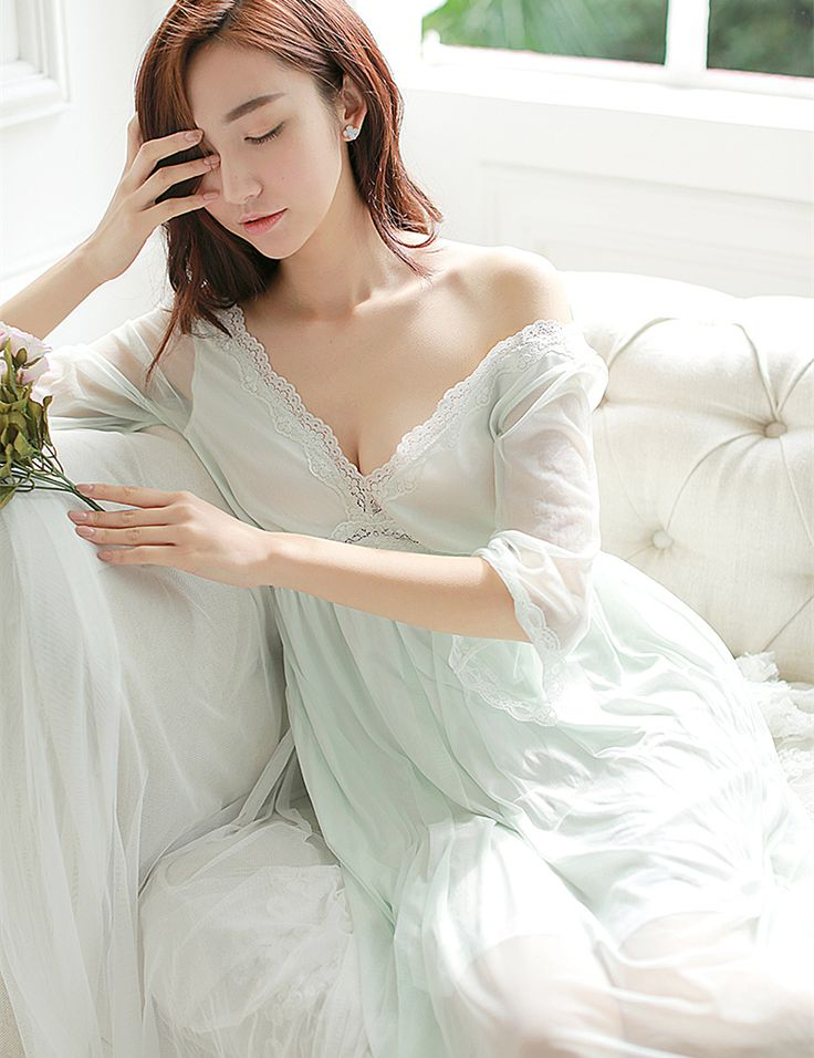 Summer Sleep Lounge Lady Sleepwear Deep V-neck Long Nightdress Women White Pink Nightgown Modal Lace Night dress Plus Size >>> For more information, visit image link.