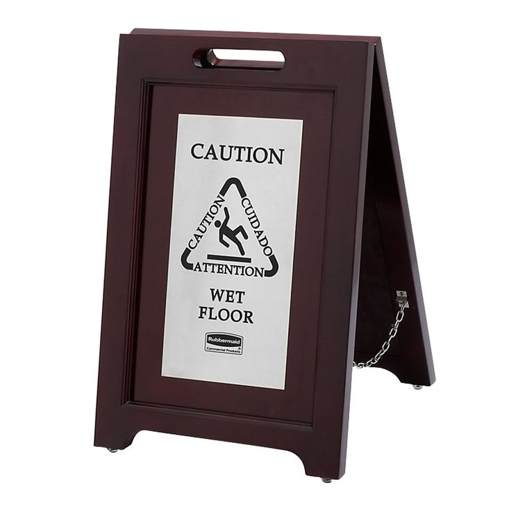 "Rubbermaid 1867508 23 1/2"" 2-Sided Wooden Stainless Steel Executive Wet Floor Sign"