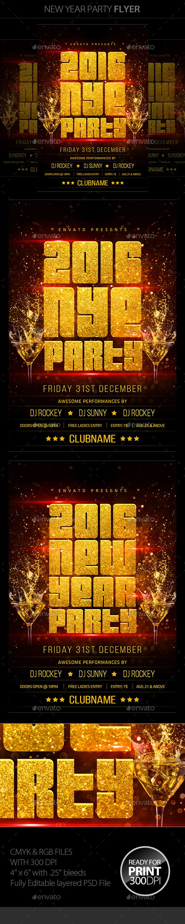 New Year Party Flyer Template PSD #design #nye Download: http://graphicriver.net/item/new-year-party-flyer/13493370?ref=ksioks