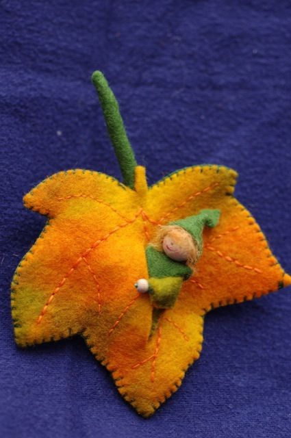 Doll inside leaf.  Waldorf Inspired Felt Craft, Image only.