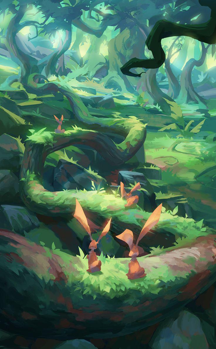 Deep in the forest, TAEYOUNG KIM on ArtStation at https://www.artstation.com/artwork/85XVR