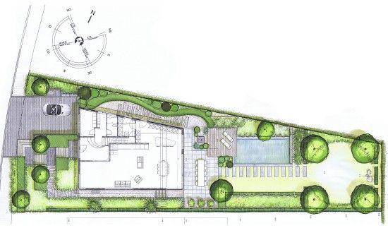 jardin de lotissement vue en plan beaucoup de demande du client :  - piscine, fontaine, grande terrasse, potager, zone de jeu pour les enfants, ...
