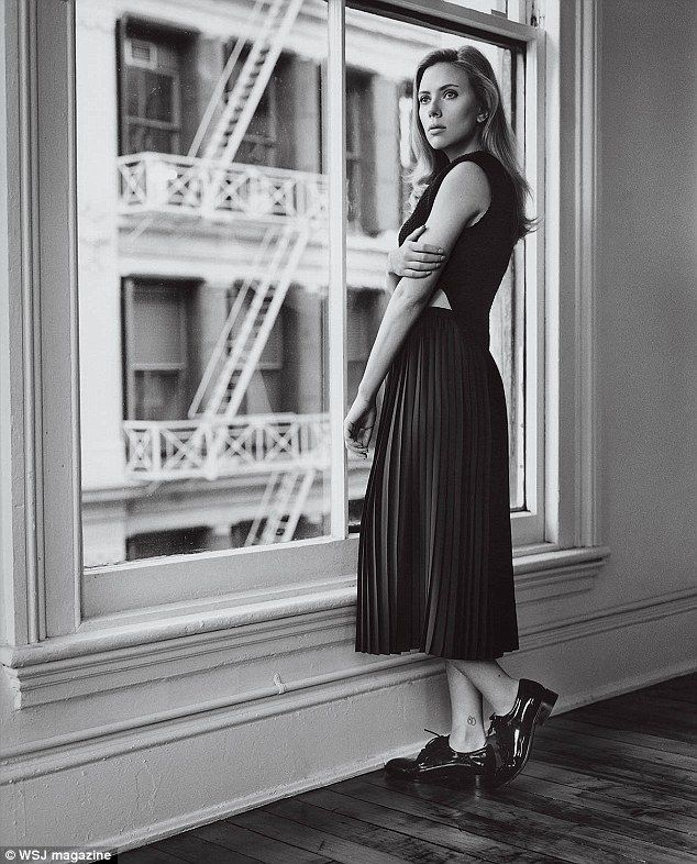 Scarlett, in black and white: The star grew up in New York but now spends most of her time living in Paris