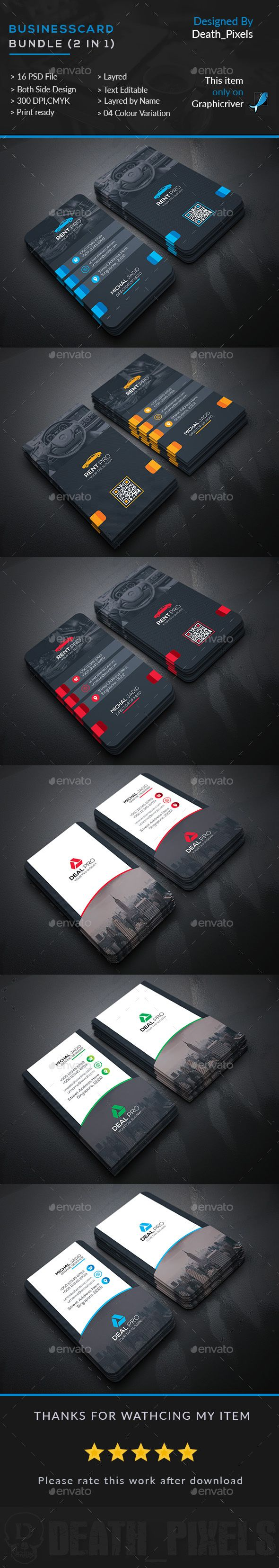 Business Card Bundle (2 in 1)  — PSD Template #car #rental  • Download ➝ https://graphicriver.net/item/business-card-bundle-2-in-1/17895743?ref=pxcr