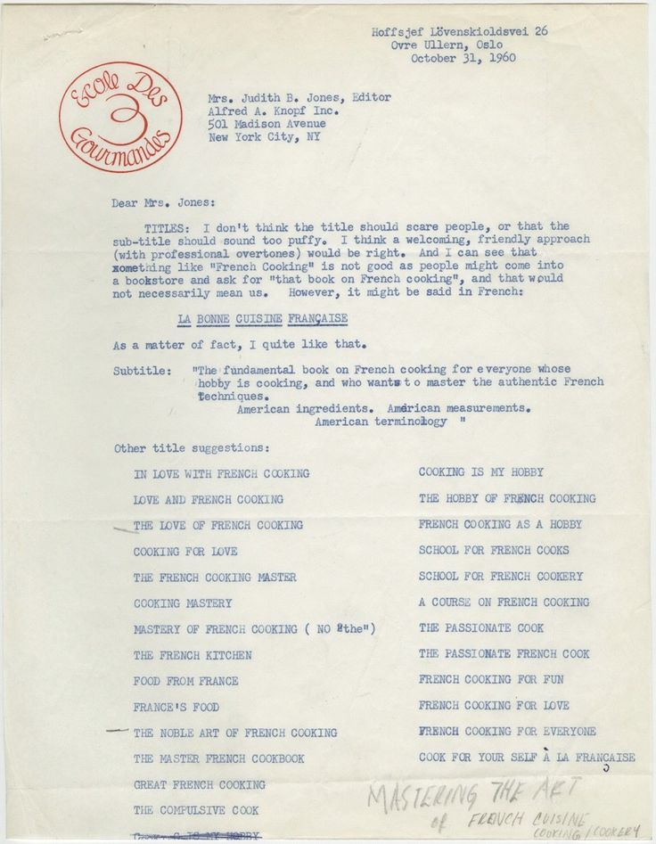 In this 1960 letter from Julia Child to her editor Judith Jones, the cook and author suggests a long list of potential titles for the book t...