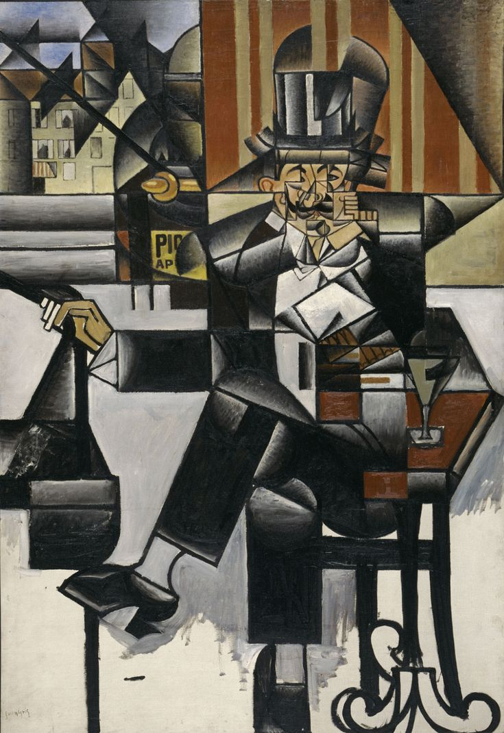 """Today we wish a happy 130th birthday to Spanish artist Juan Gris. Gris is best known for his Cubist sculptures and paintings.  """"Man in a Café,"""" 1912, by Juan Gris"""