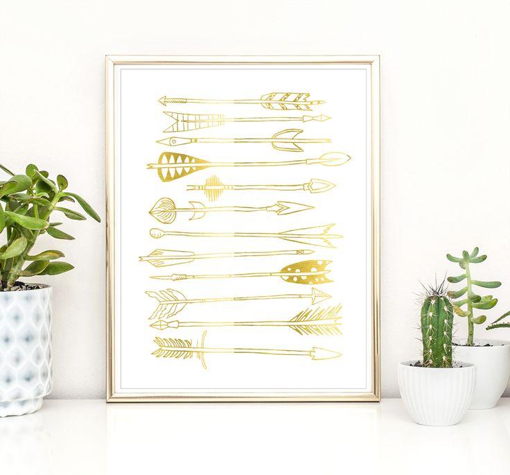 Gold Foil Boho Arrows print  Nursery Print // Posters // Arrows design // Gold // Copper // Silver