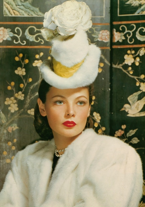 Jean Tierney: Gene Tierney, Women Fashion, Movies Stars, Hollywood Glamour, Mad Hatters, Beautiful, Vintage Hats, 1940S Hats, Classic